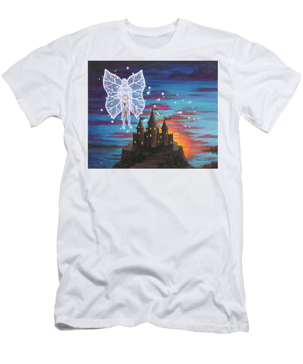Fantasy Men's T-Shirt (Slim Fit) featuring the painting Fairy Takes The Key by Roz Eve