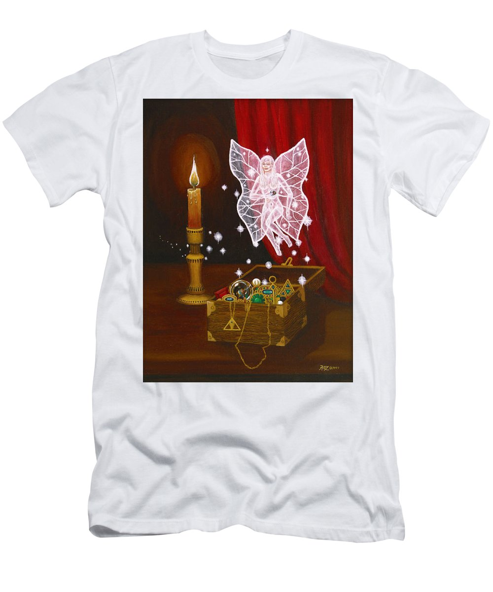 Fairy Men's T-Shirt (Slim Fit) featuring the painting Fairy Treasure by Roz Eve