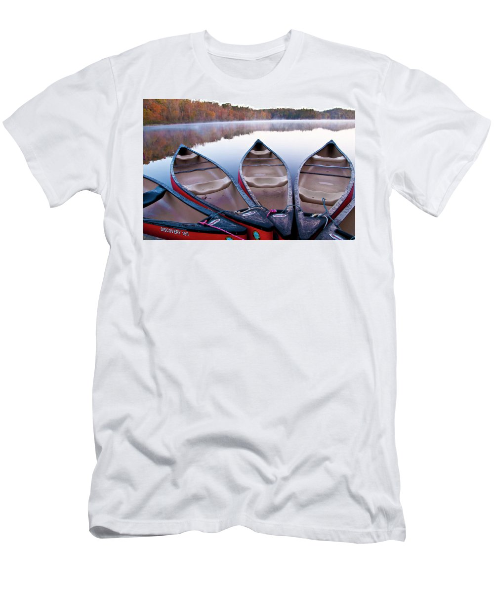 Canoe Men's T-Shirt (Athletic Fit) featuring the photograph Fall Canoe by Ginnie Lerch