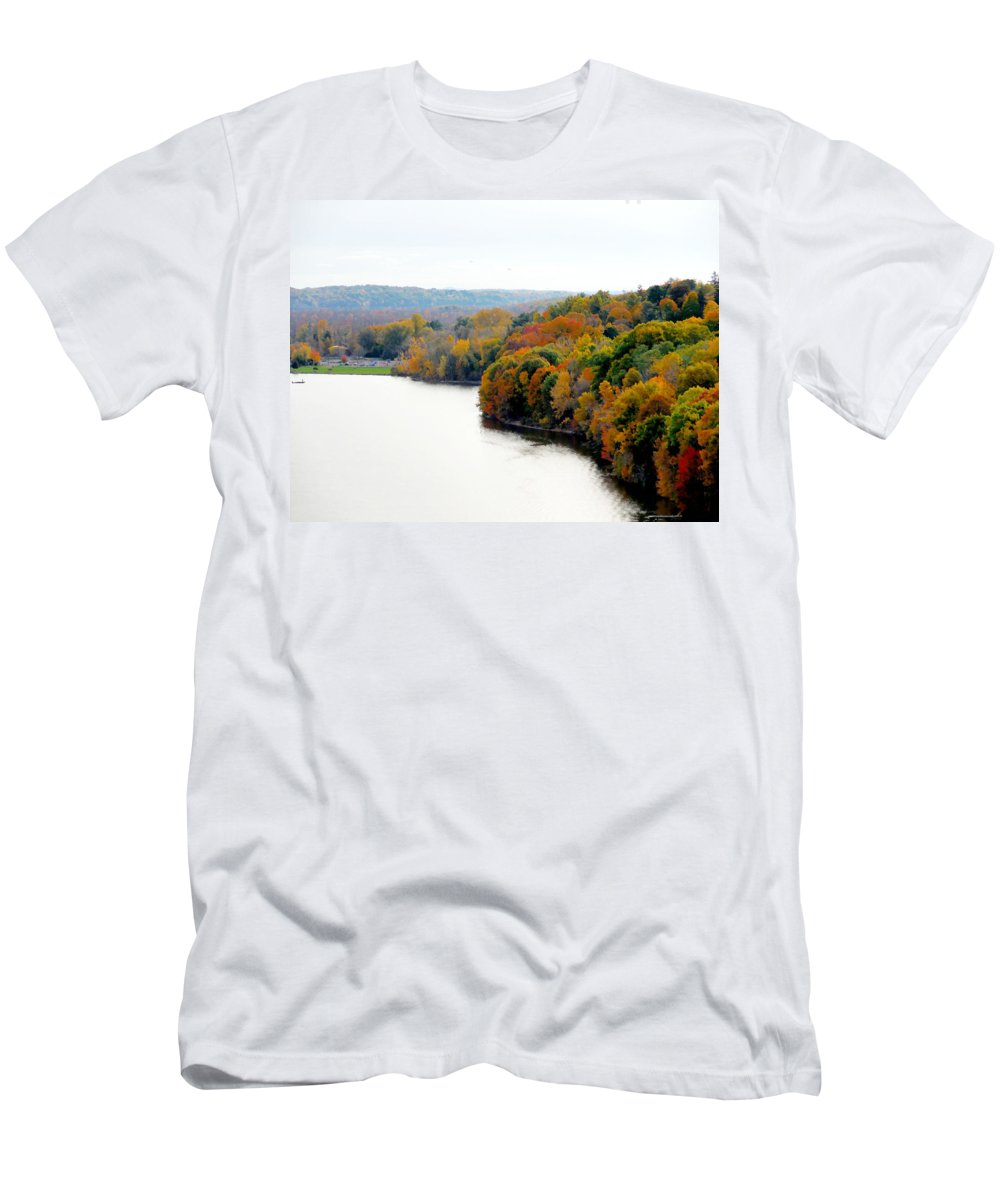 Fall Foliage In Hudson River Men's T-Shirt (Athletic Fit) featuring the painting Fall Foliage In Hudson River 13 by Jeelan Clark