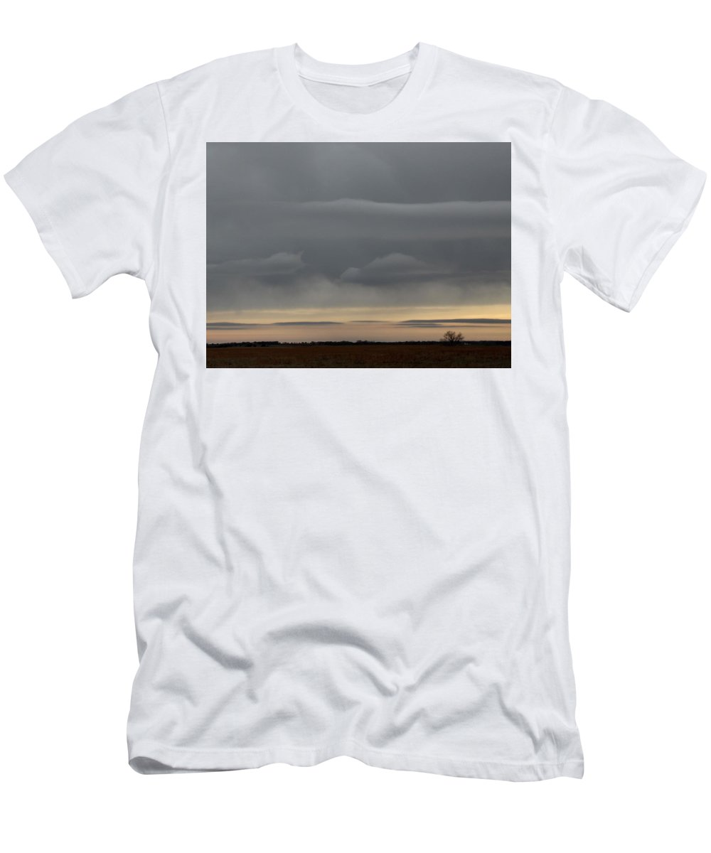 Grey Men's T-Shirt (Athletic Fit) featuring the photograph Fantasy Clouds by Weathered Wood