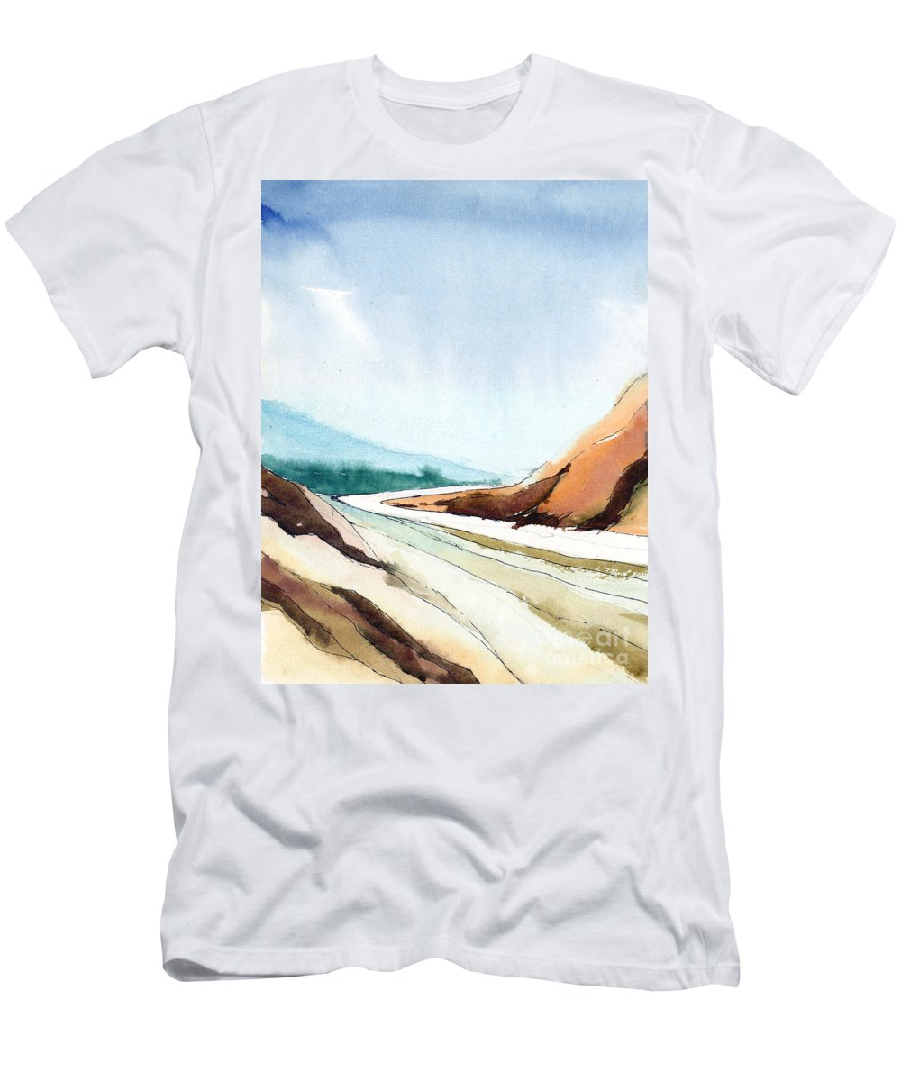 Landscape Men's T-Shirt (Athletic Fit) featuring the painting Far Away by Anil Nene