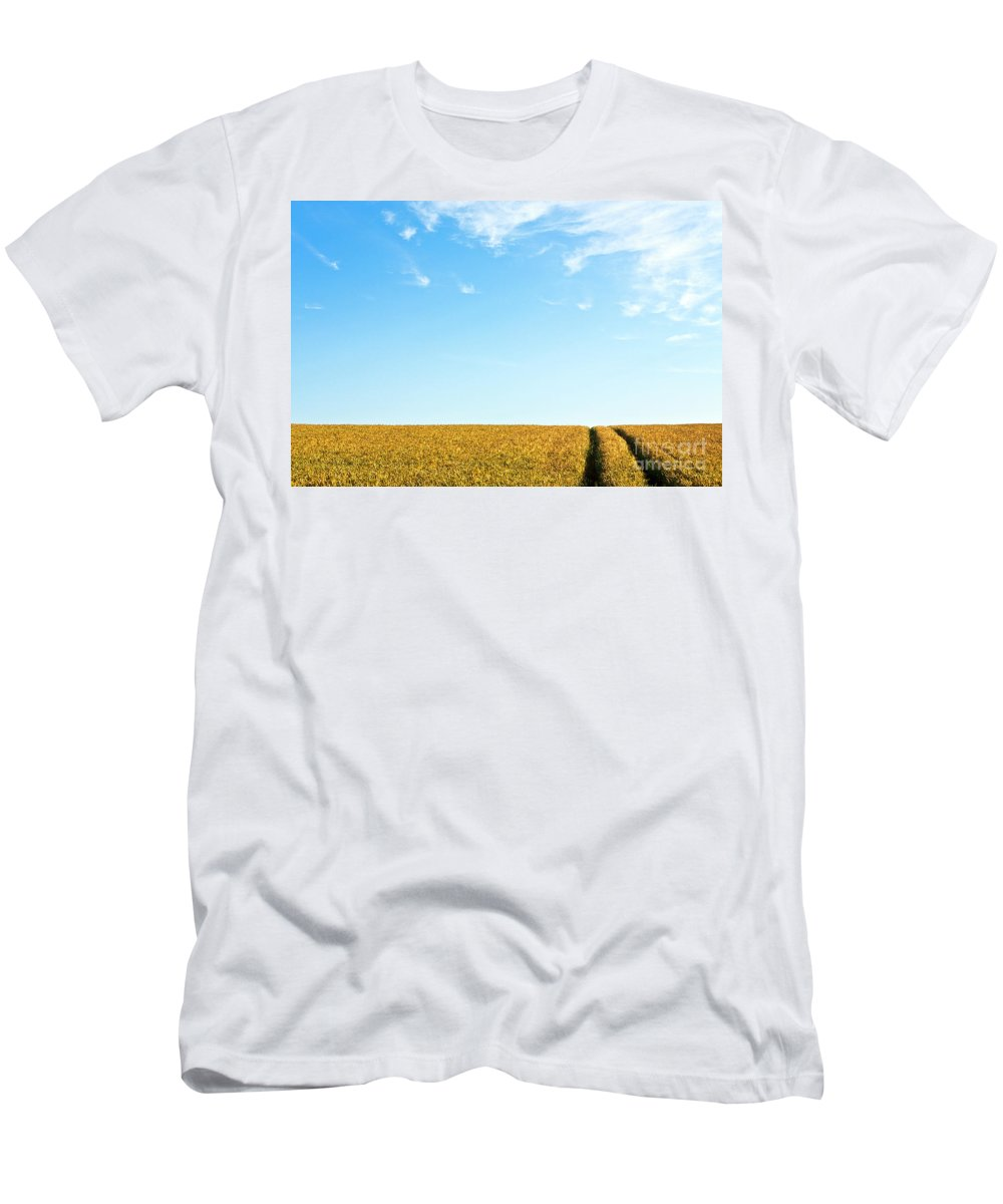 Europe Men's T-Shirt (Athletic Fit) featuring the photograph Farmland To The Horizon 1 by Heiko Koehrer-Wagner