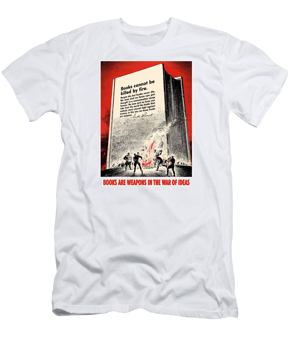 Book Burning Men's T-Shirt (Athletic Fit) featuring the painting Fdr Quote On Book Burning by War Is Hell Store