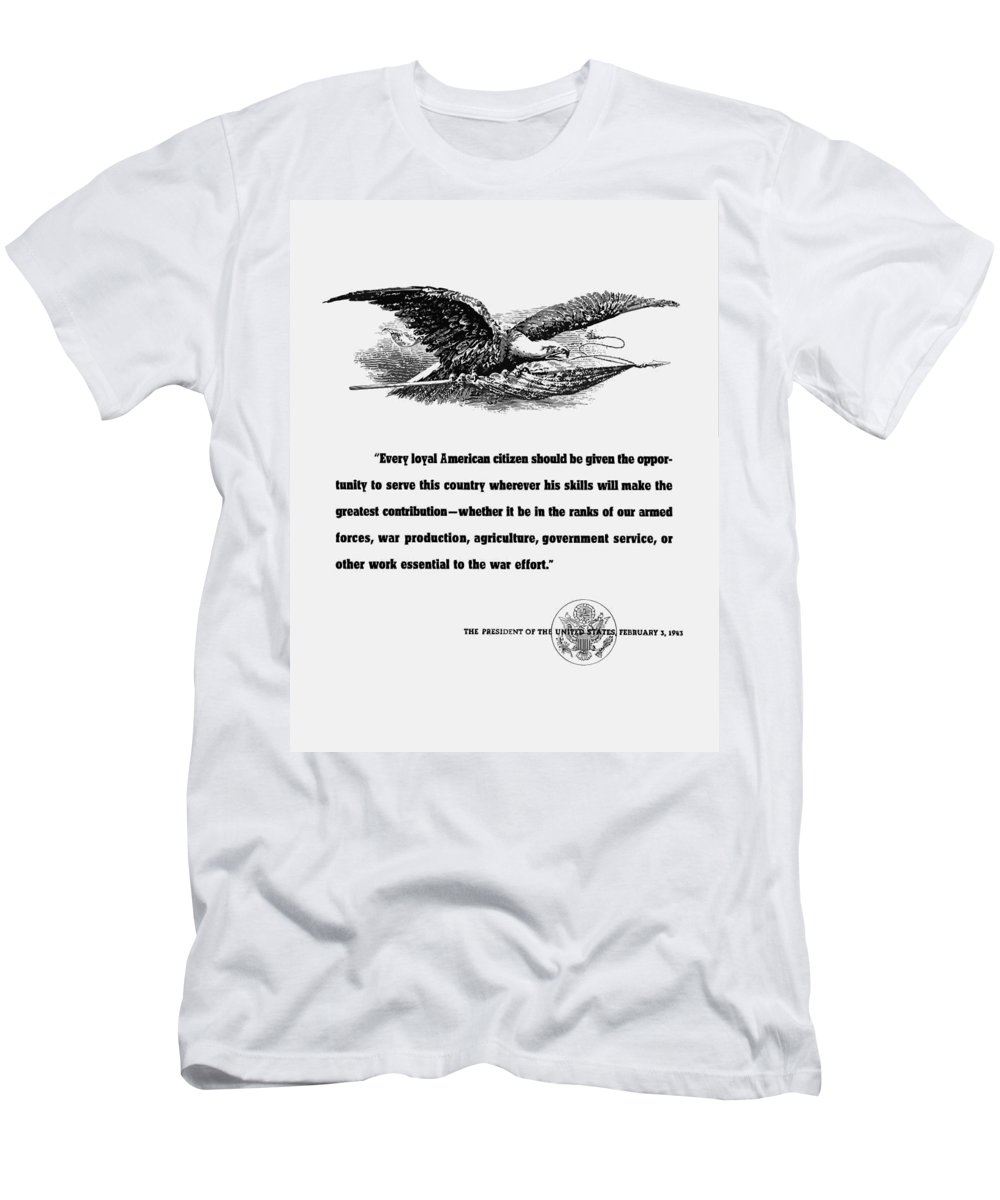 Franklin Roosevelt Men's T-Shirt (Athletic Fit) featuring the digital art Fdr War Quote by War Is Hell Store