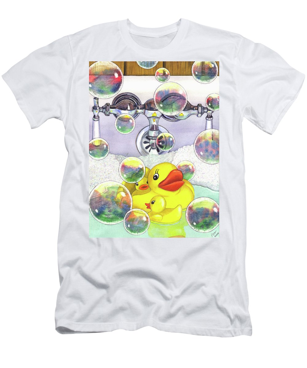 Bubbles Men's T-Shirt (Athletic Fit) featuring the painting Feelin Ducky by Catherine G McElroy