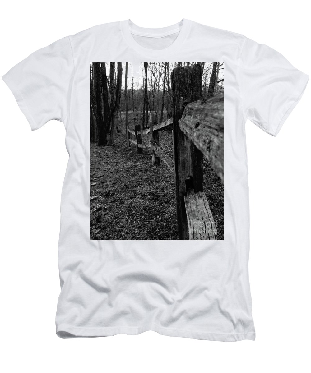 Kensington Men's T-Shirt (Athletic Fit) featuring the photograph Fence To Nowhere by September Stone