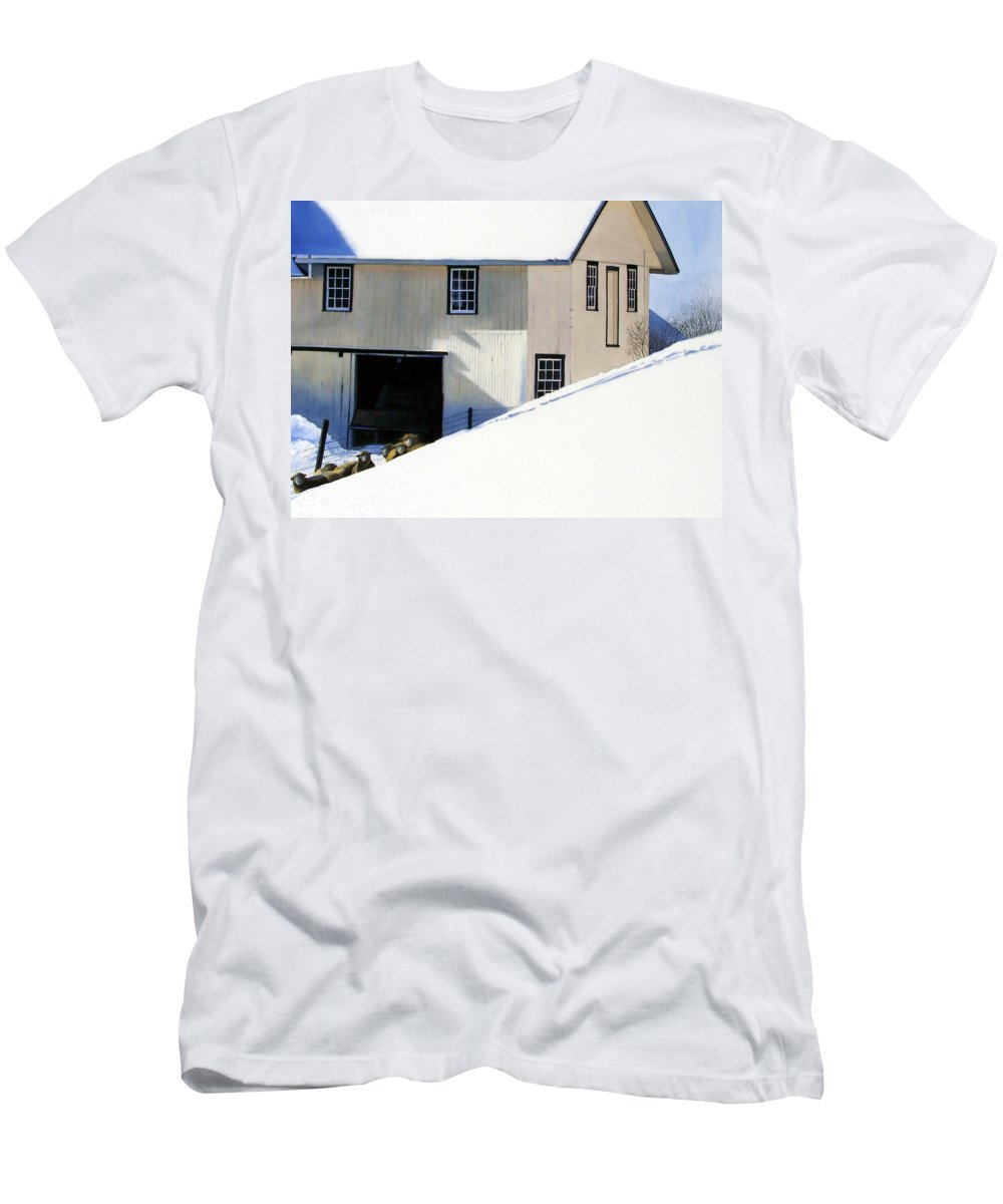 Barn Men's T-Shirt (Athletic Fit) featuring the painting Fenced In by Denny Bond