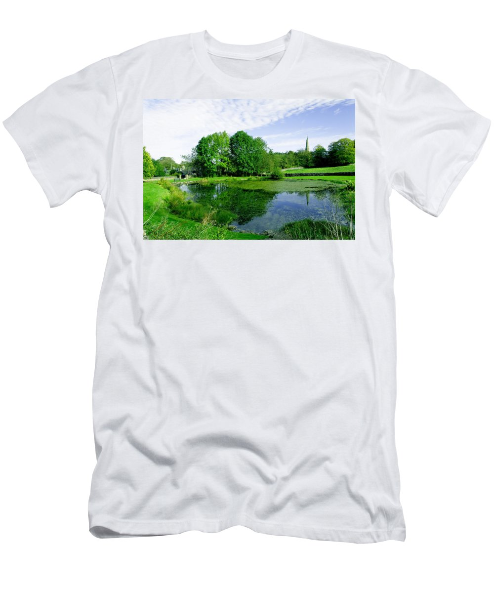 Green Men's T-Shirt (Athletic Fit) featuring the photograph Fere Mere At Monyash by Rod Johnson