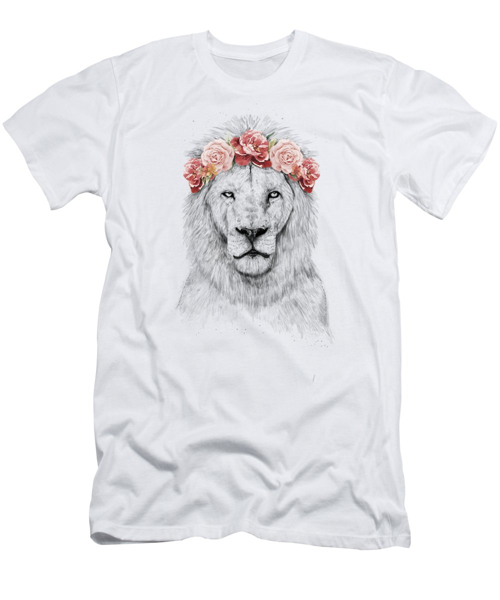 Lion T-Shirt featuring the drawing Festival lion by Balazs Solti