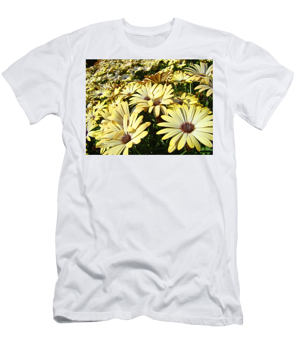 Daisy Men's T-Shirt (Athletic Fit) featuring the photograph Field Of Daisies Landscape Floral Art Prints Daisy Baslee Troutman by Baslee Troutman