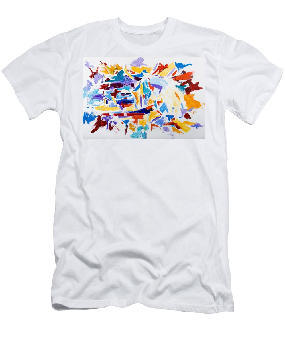 Abstract Yellow Men's T-Shirt (Athletic Fit) featuring the painting Fiesta by Shannon Grissom