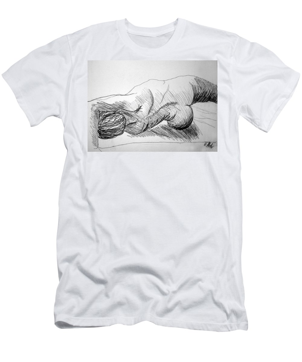 Figure Men's T-Shirt (Athletic Fit) featuring the drawing Figure Drawing 2 by Nancy Mueller