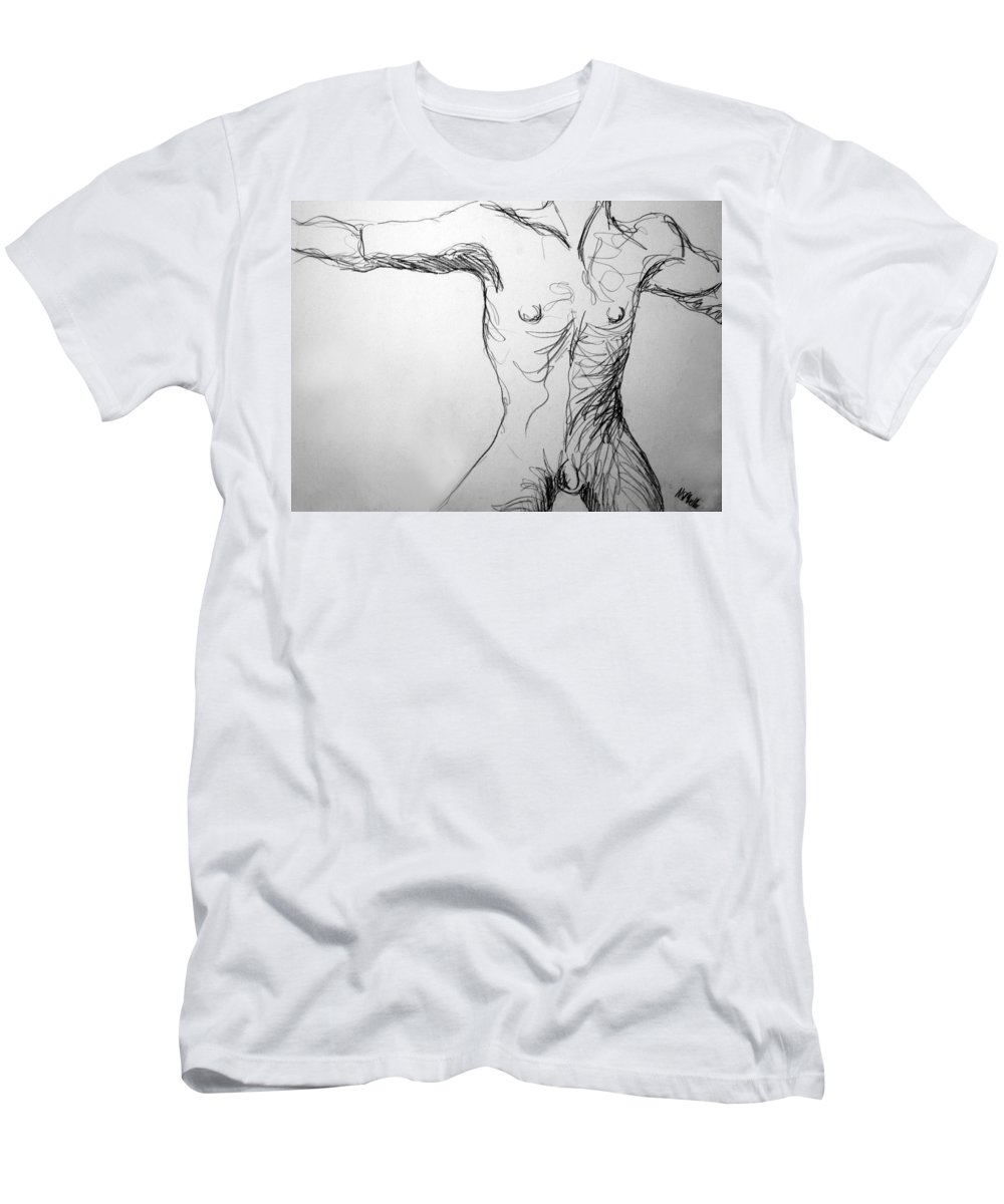 Figure Men's T-Shirt (Athletic Fit) featuring the drawing Figure Drawing 5 by Nancy Mueller