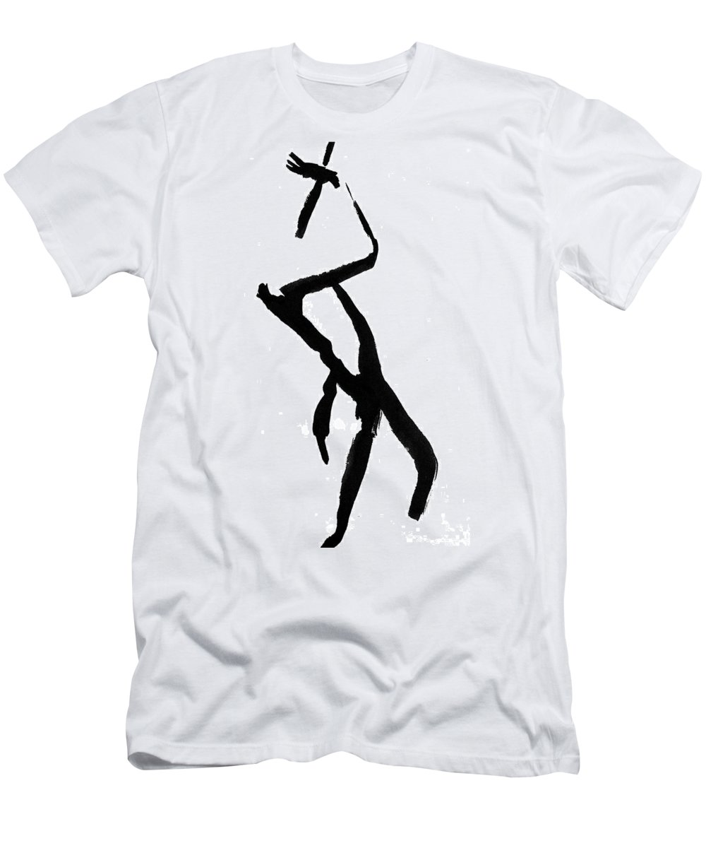 Silhouette Men's T-Shirt (Athletic Fit) featuring the drawing Figure Silhouette by Nancy Mueller