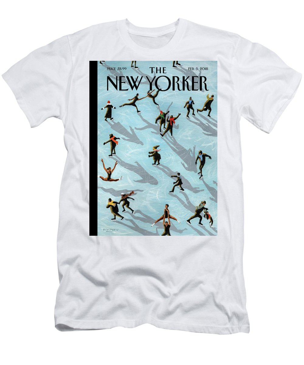Figured Skaters Men's T-Shirt (Athletic Fit) featuring the drawing Figured Skaters by Mark Ulriksen