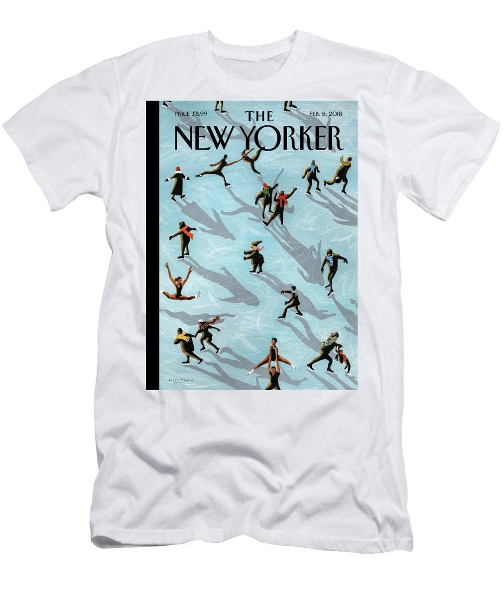 Figured Skaters T-Shirt featuring the drawing Figured Skaters by Mark Ulriksen
