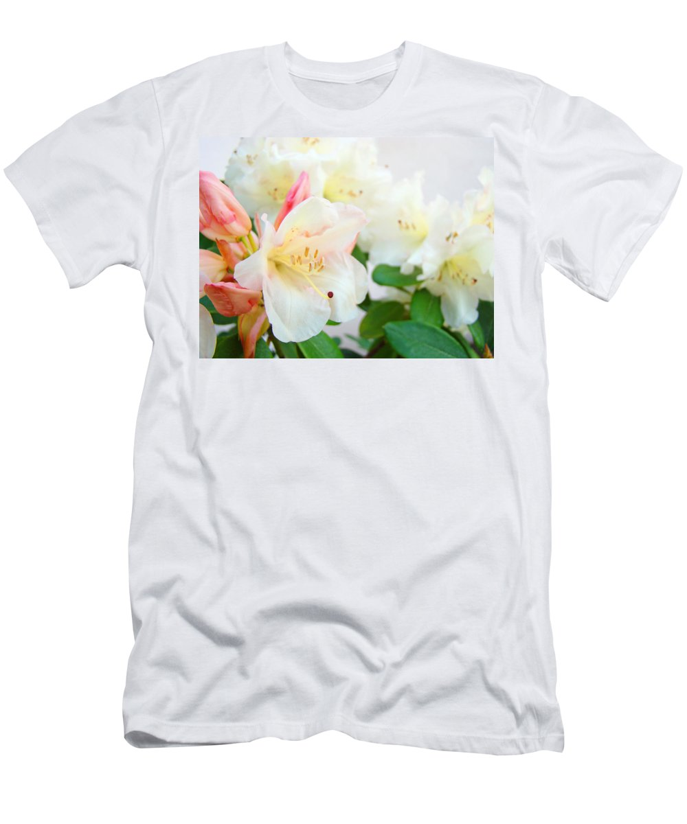Rhodie Men's T-Shirt (Athletic Fit) featuring the photograph Fine Art Florals Prints White Pink Rhodies Rhododendrons Baslee Troutman by Baslee Troutman
