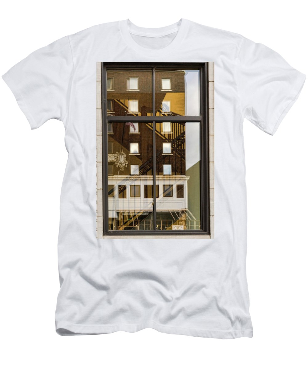 Knoxville Men's T-Shirt (Athletic Fit) featuring the photograph Fire Exit by Sharon Popek