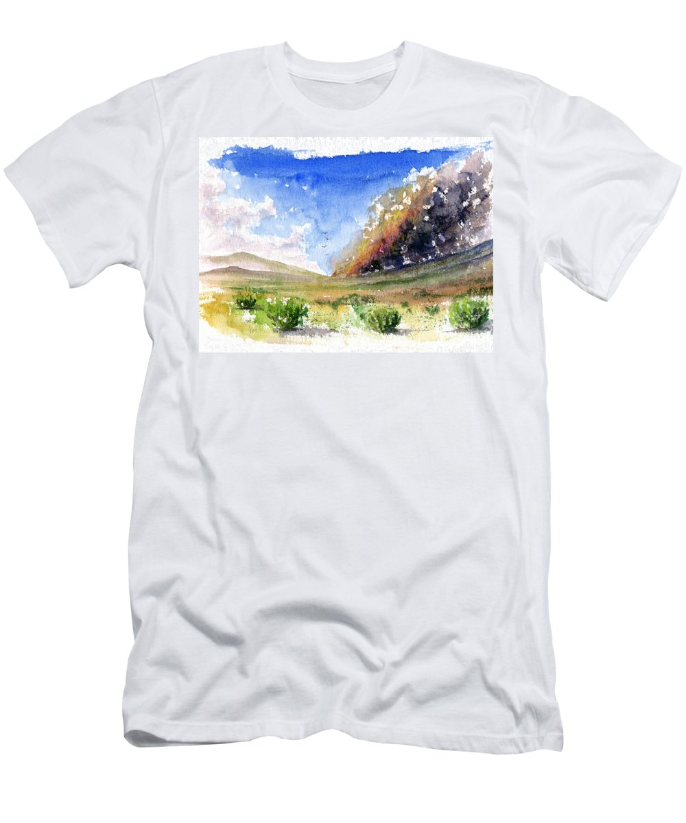 Fire Men's T-Shirt (Athletic Fit) featuring the painting Fire In The Desert 1 by John D Benson