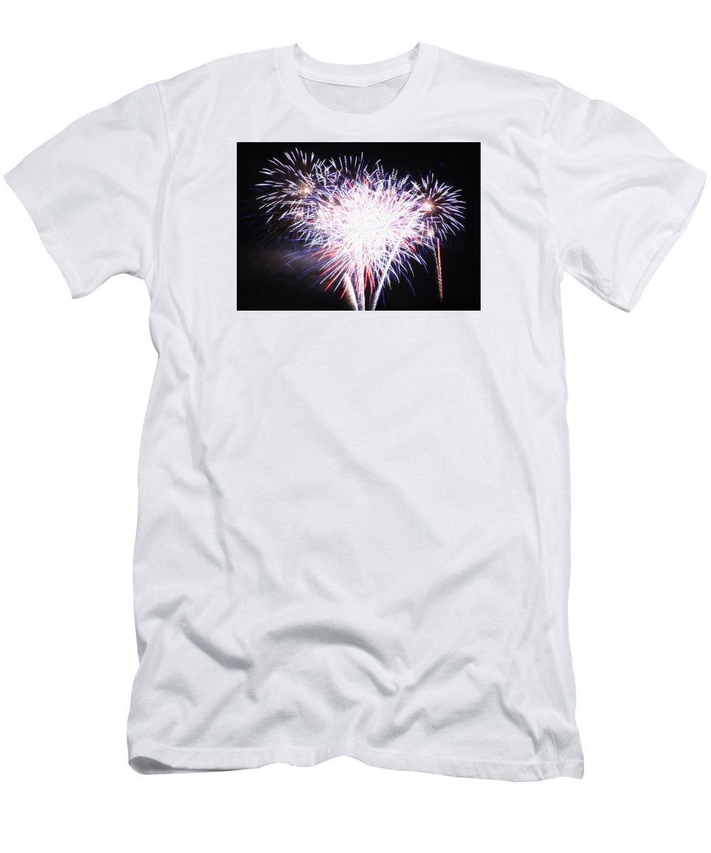 4th Of July Men's T-Shirt (Athletic Fit) featuring the photograph Fireworks by Anita Troy