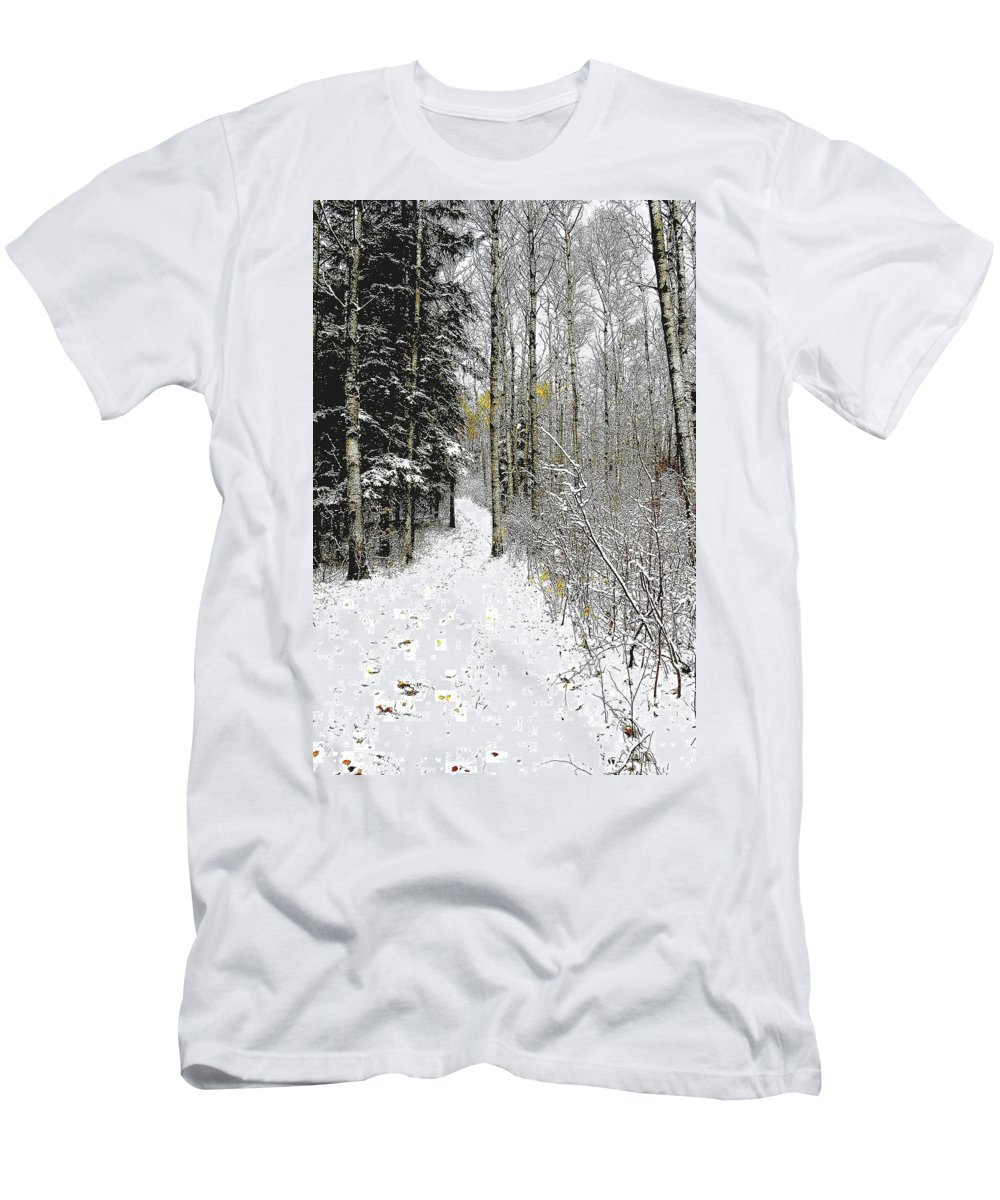 Winter Men's T-Shirt (Athletic Fit) featuring the photograph First Snowfall by Nelson Strong