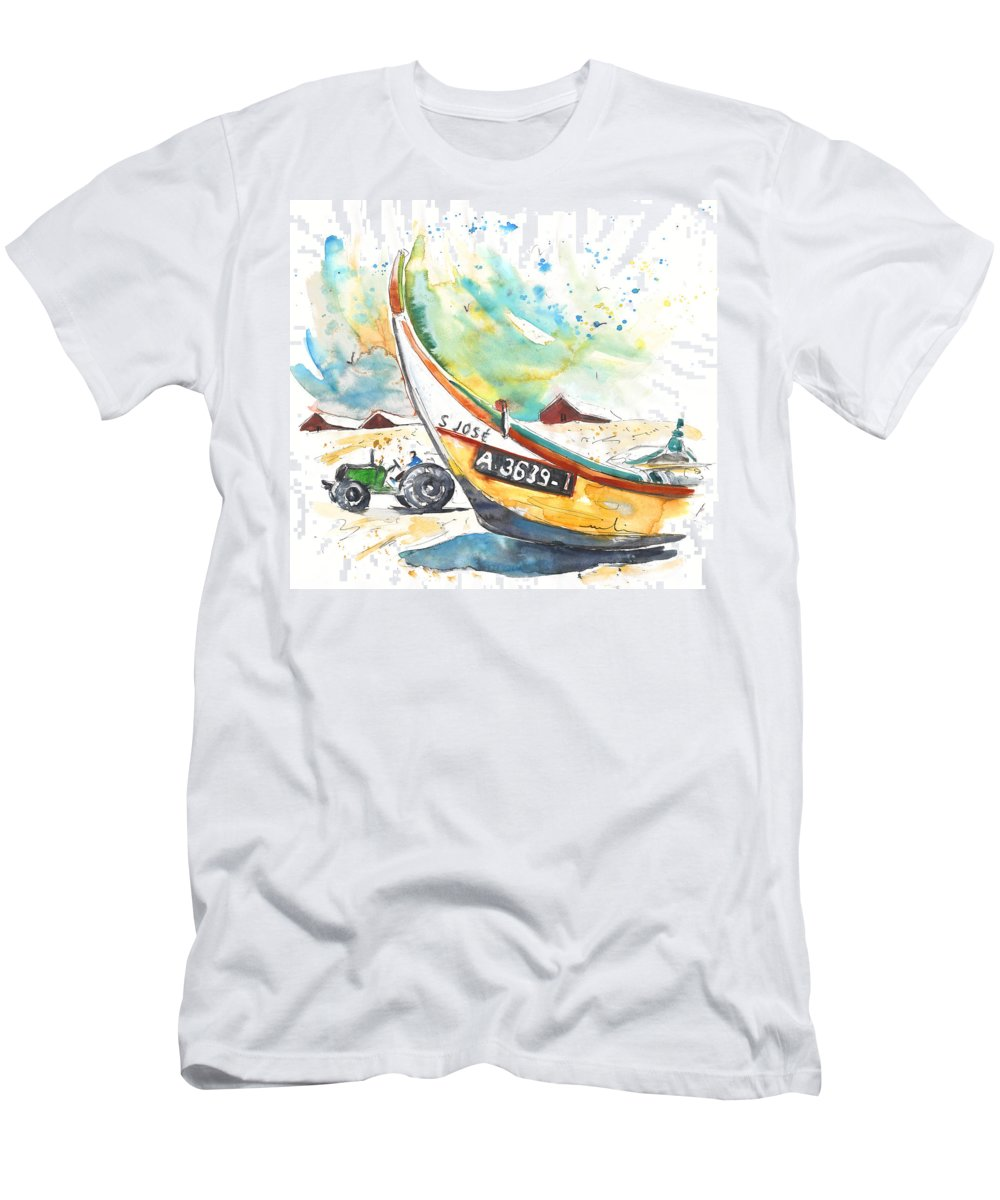 Portugal Men's T-Shirt (Athletic Fit) featuring the painting Fisherboat In Praia De Mira by Miki De Goodaboom
