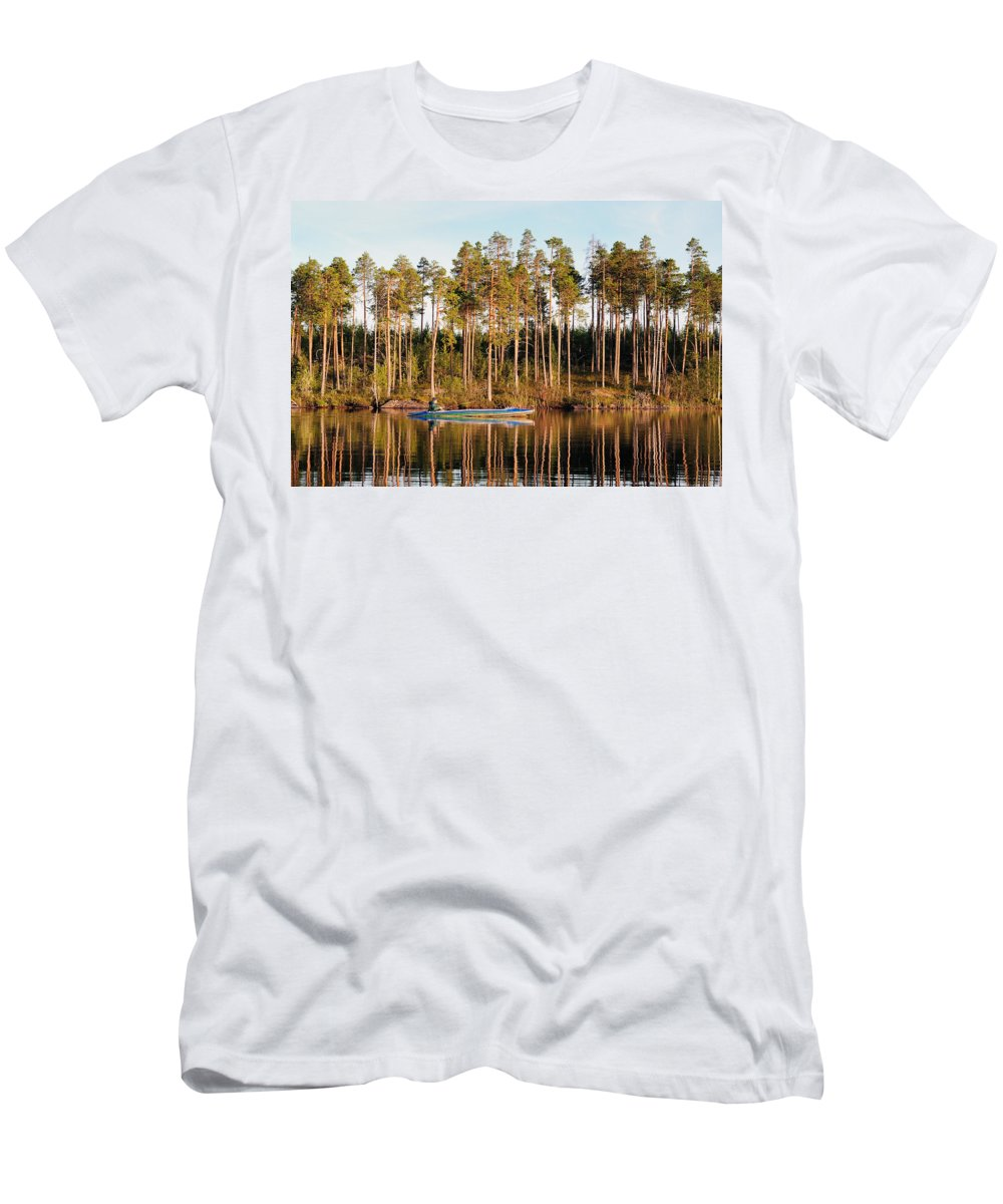 Attractive Men's T-Shirt (Athletic Fit) featuring the photograph Fisherman On Evening Lake by Vadzim Kandratsenkau