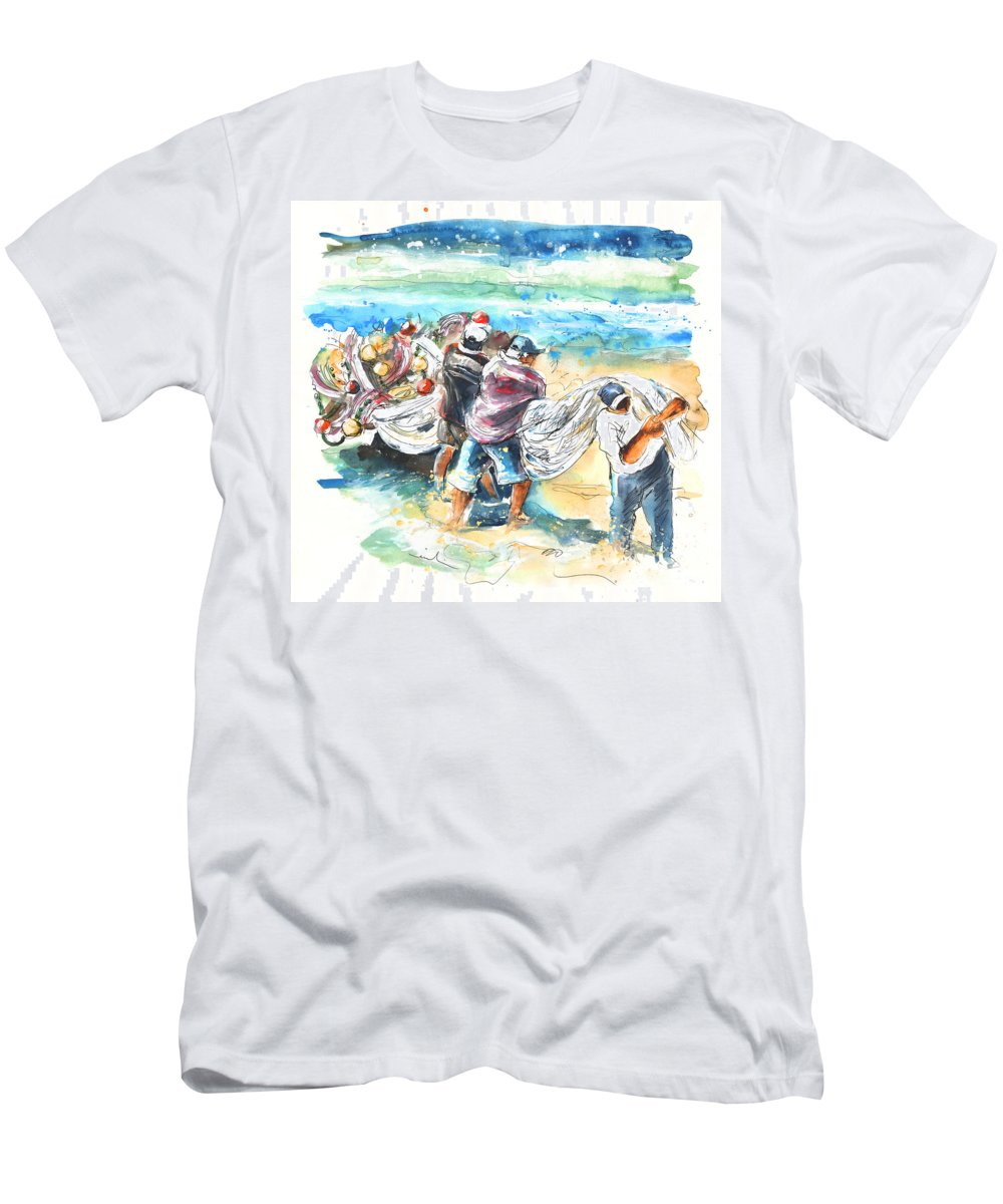 Portugal Men's T-Shirt (Athletic Fit) featuring the painting Fishermen In Praia De Mira by Miki De Goodaboom