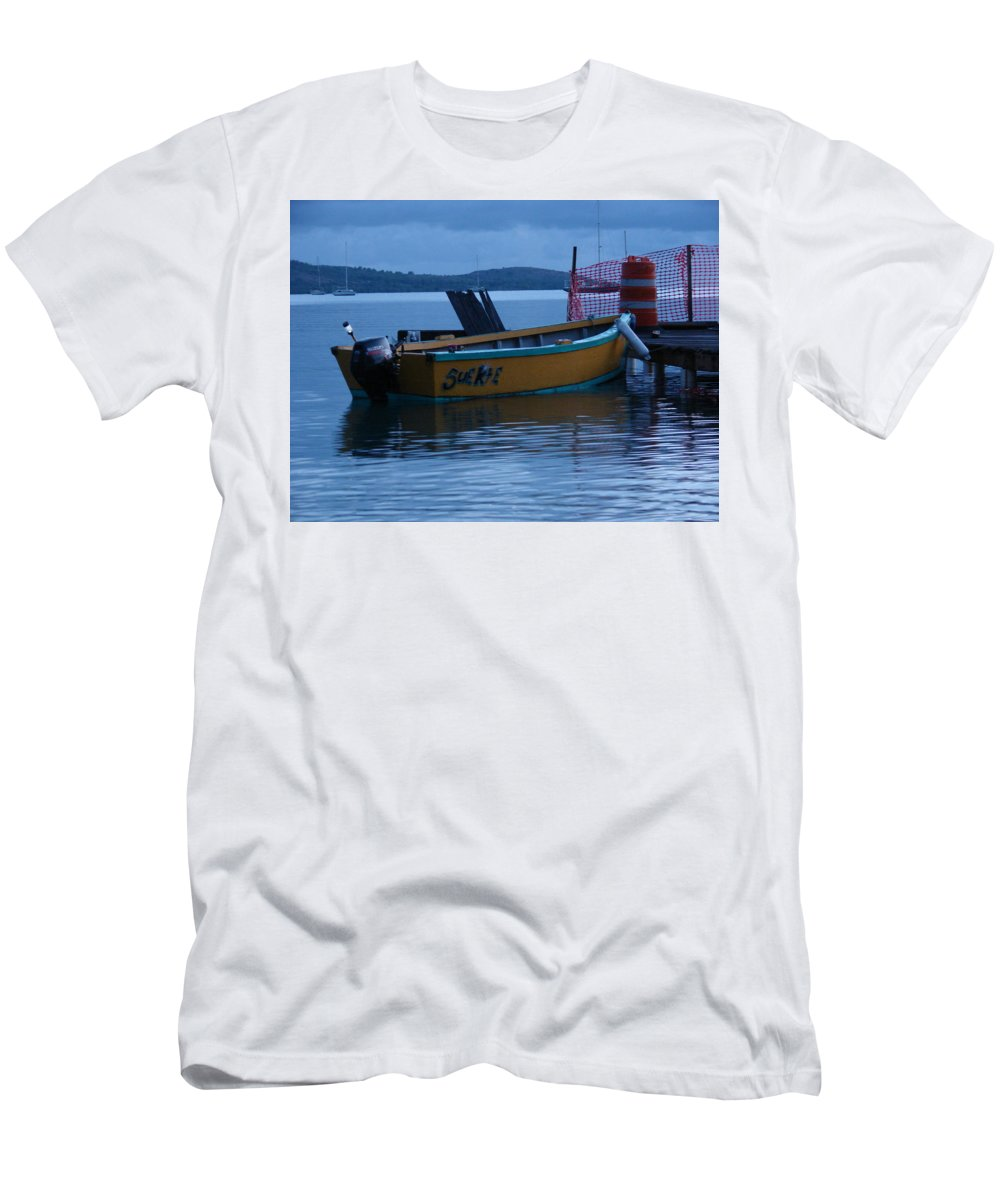 Men's T-Shirt (Athletic Fit) featuring the pyrography Fishing Boat by Ramon Reyes