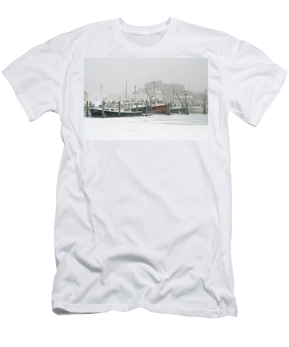 Winter Men's T-Shirt (Athletic Fit) featuring the photograph Fishing Boats During Winter Storm Sandwich Cape Cod by Matt Suess