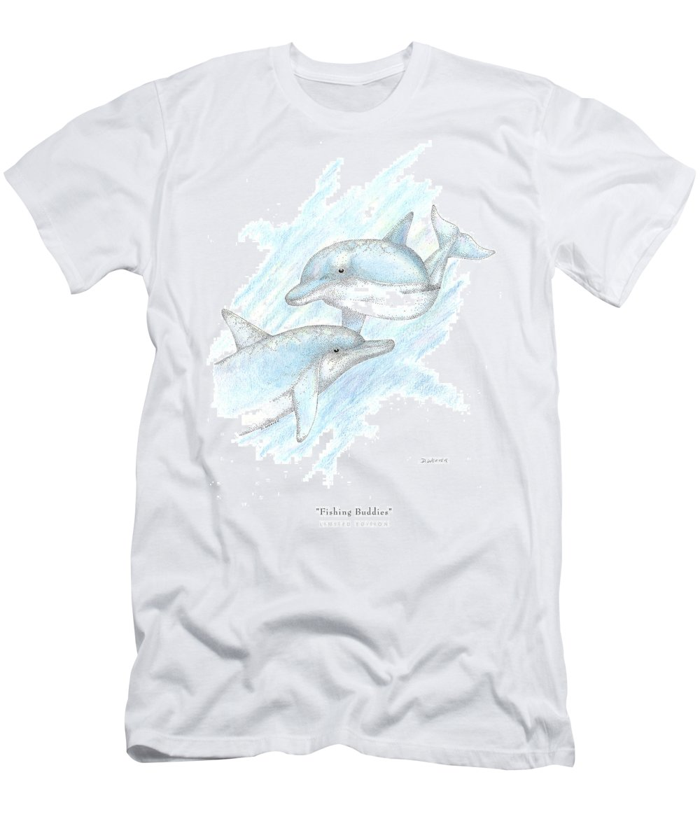 Dolphins Men's T-Shirt (Athletic Fit) featuring the drawing Fishing Buddies by David Weaver