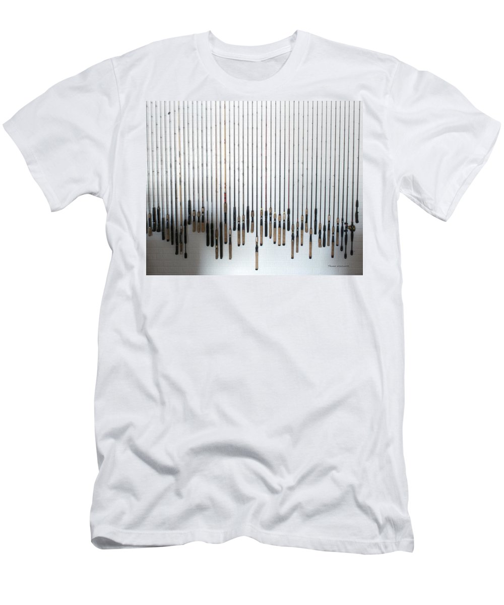 Fishing Poles Men's T-Shirt (Athletic Fit) featuring the photograph Fishing Poles by Thomas Woolworth