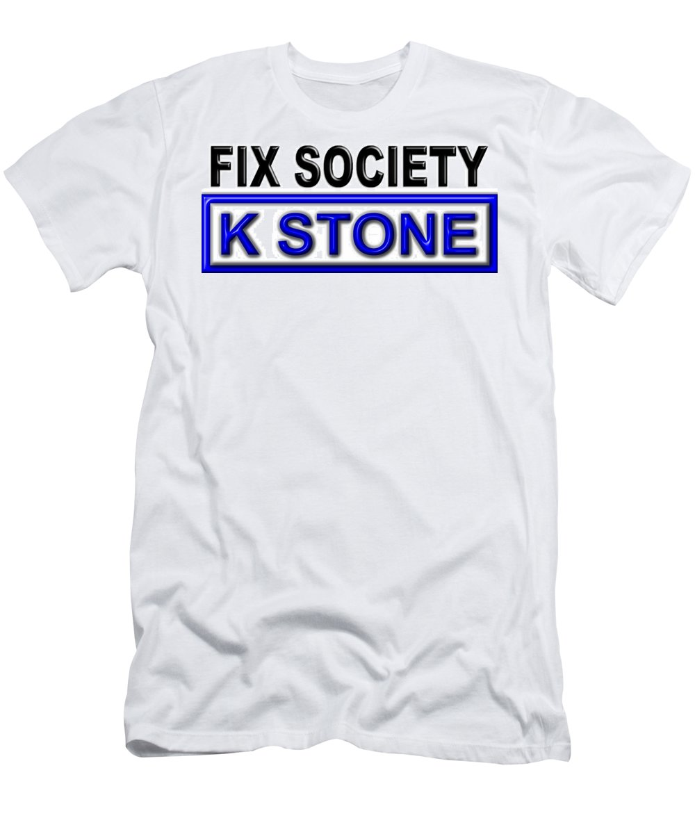K Stone Men's T-Shirt (Athletic Fit) featuring the digital art Fix Society 2nd Edition by K STONE UK Music Producer