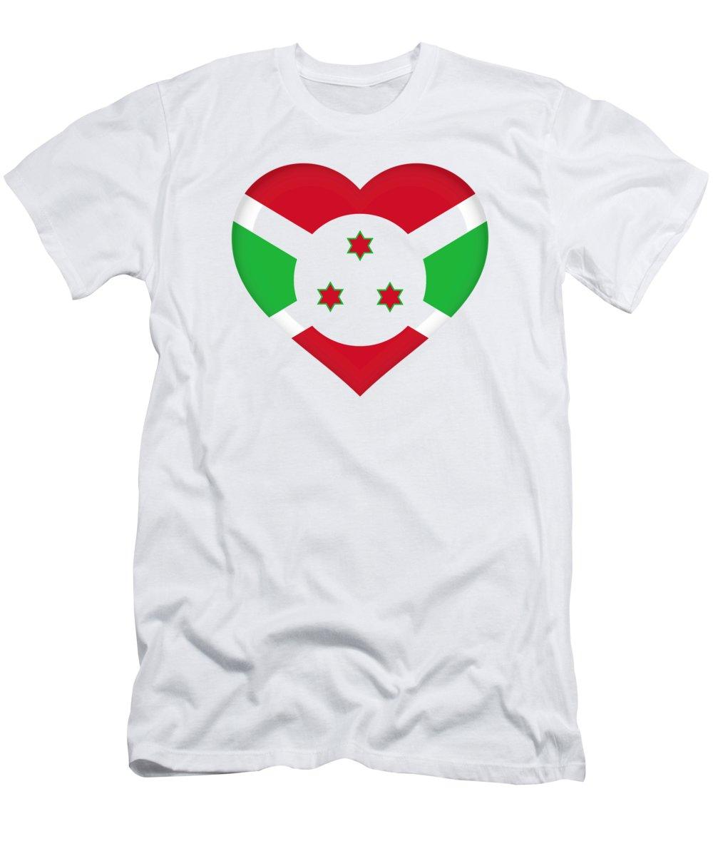 Africa Men's T-Shirt (Athletic Fit) featuring the digital art Flag Of Burundi Heart by Roy Pedersen