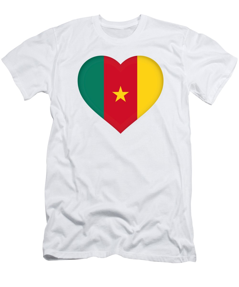 Africa Men's T-Shirt (Athletic Fit) featuring the digital art Flag Of Cameroon Heart by Roy Pedersen