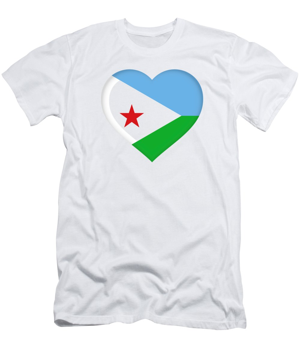 Africa Men's T-Shirt (Athletic Fit) featuring the digital art Flag Of Djibouti Heart by Roy Pedersen