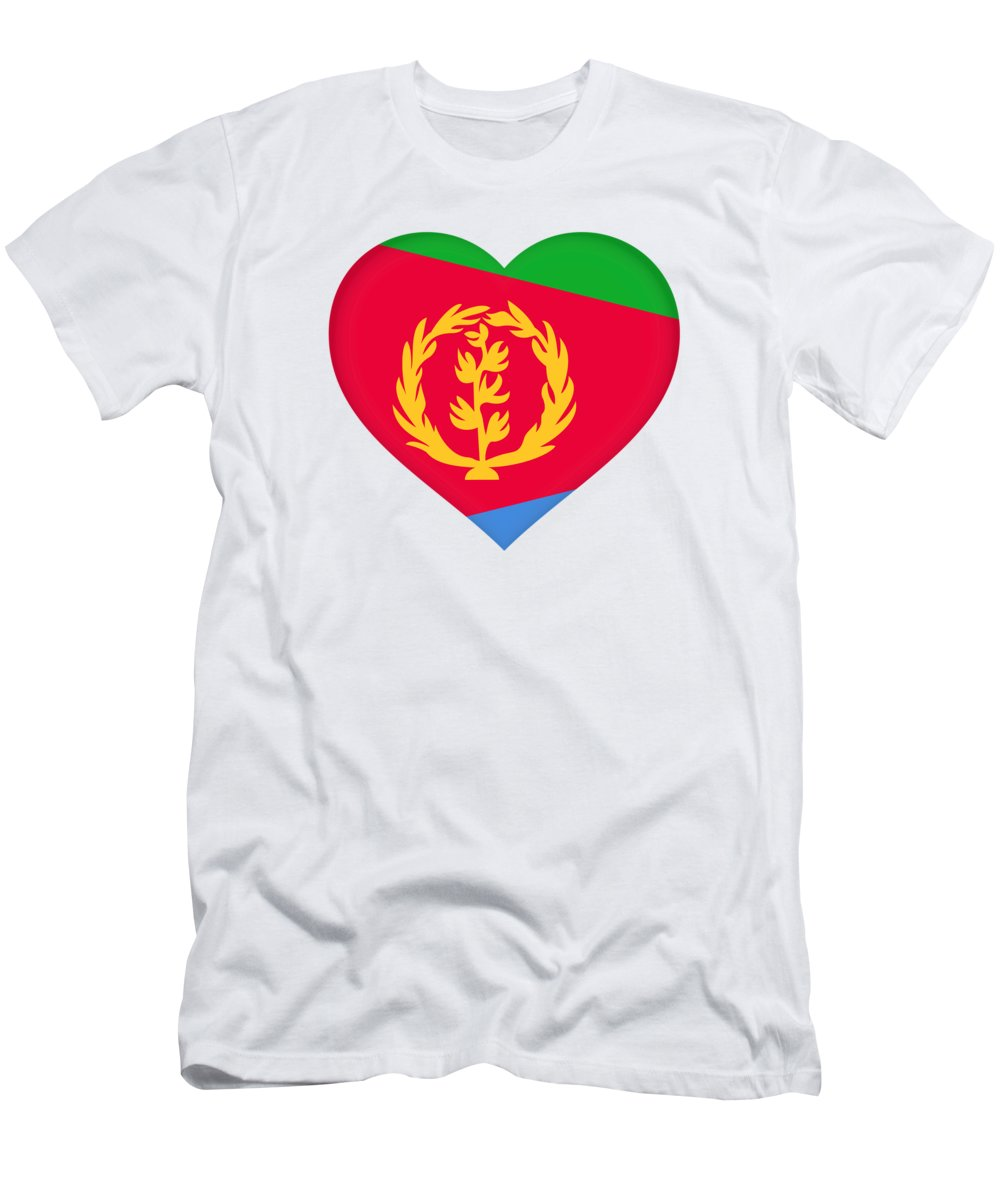 Africa Men's T-Shirt (Athletic Fit) featuring the digital art Flag Of Eritrea Heart by Roy Pedersen