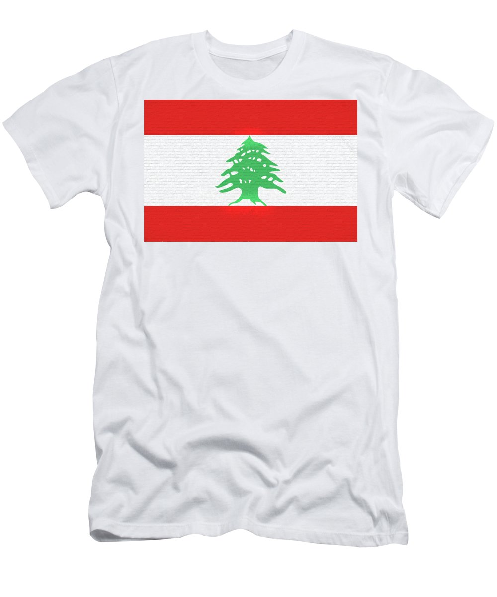 Arab Men's T-Shirt (Athletic Fit) featuring the digital art Flag Of Lebanon Wall by Roy Pedersen