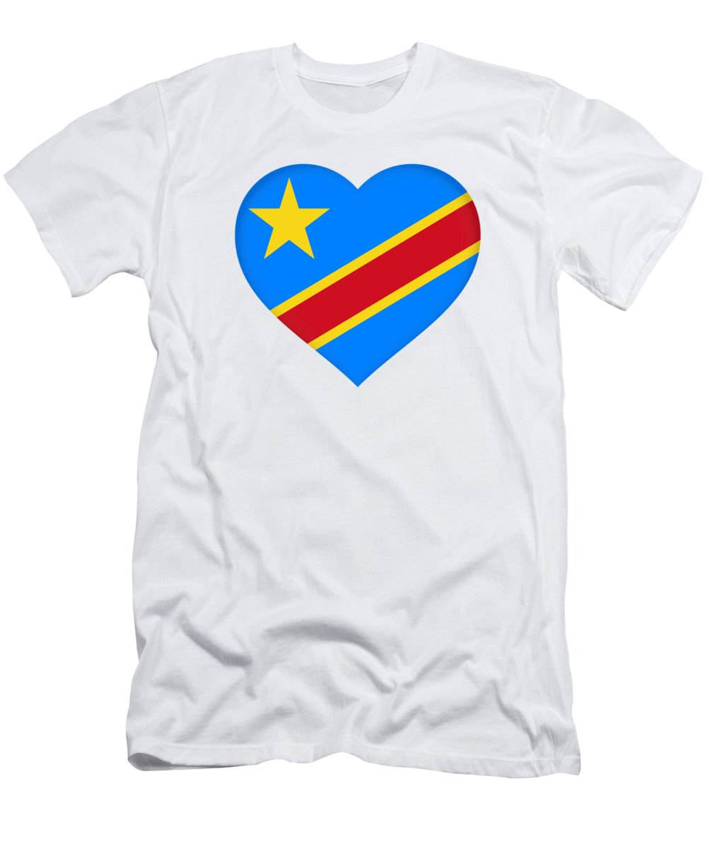 Africa Men's T-Shirt (Athletic Fit) featuring the digital art Flag Of The Congo Heart by Roy Pedersen