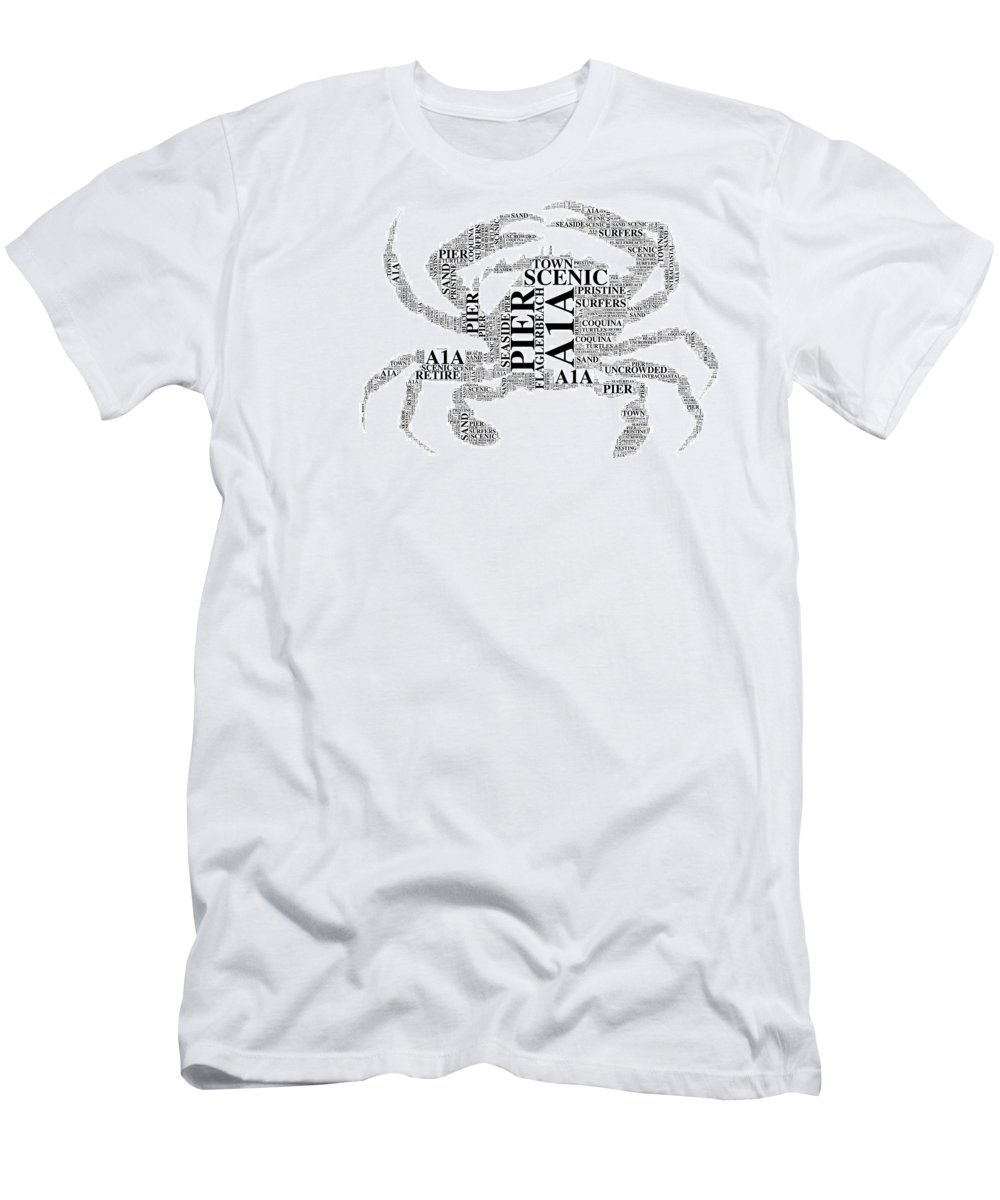 Flaglerbeach Uncrowded Beach Men's T-Shirt (Athletic Fit) featuring the digital art Flagler Beach Crab Art by Alice Gipson