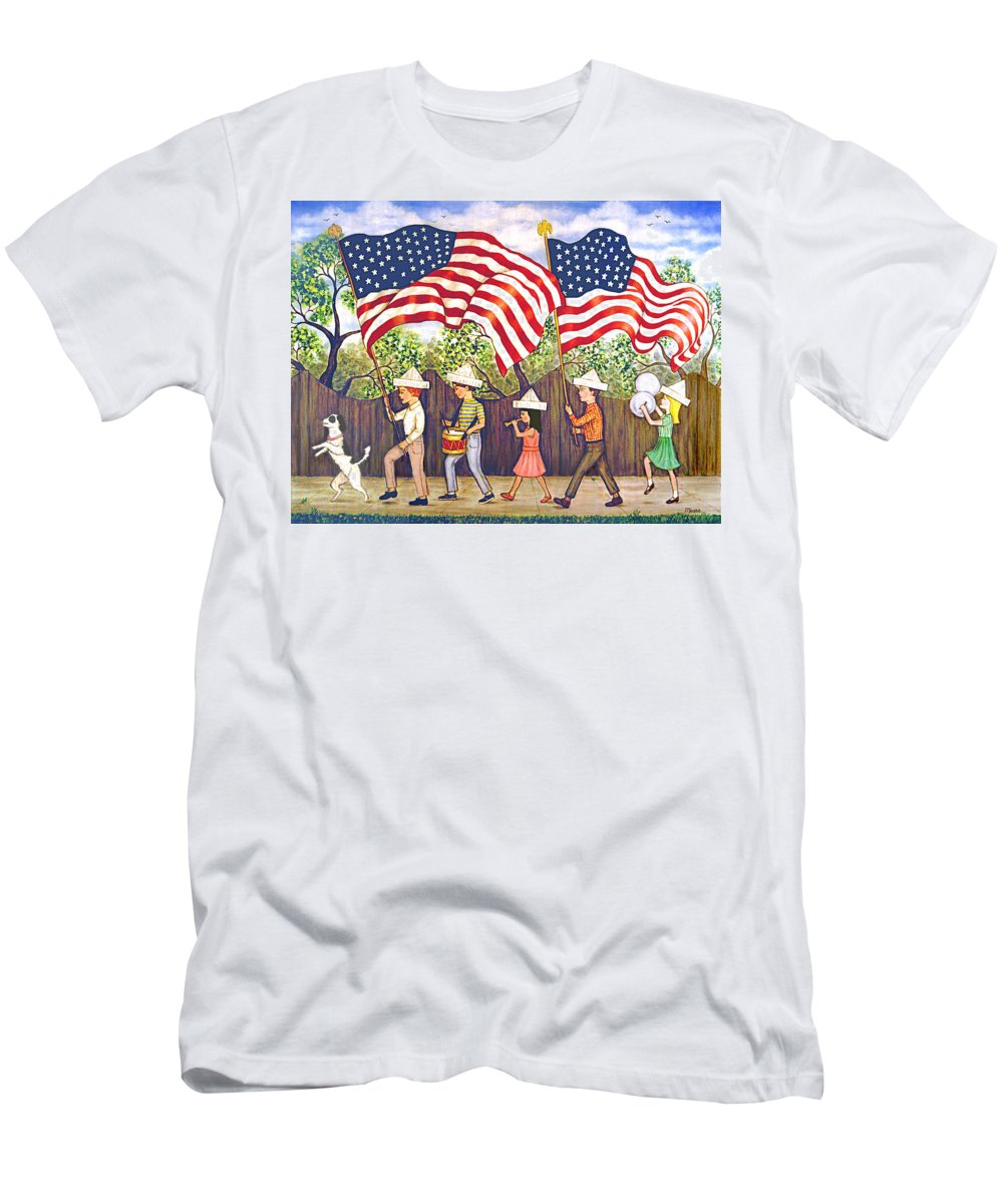 Patriotic Men's T-Shirt (Athletic Fit) featuring the painting Flags by Linda Mears