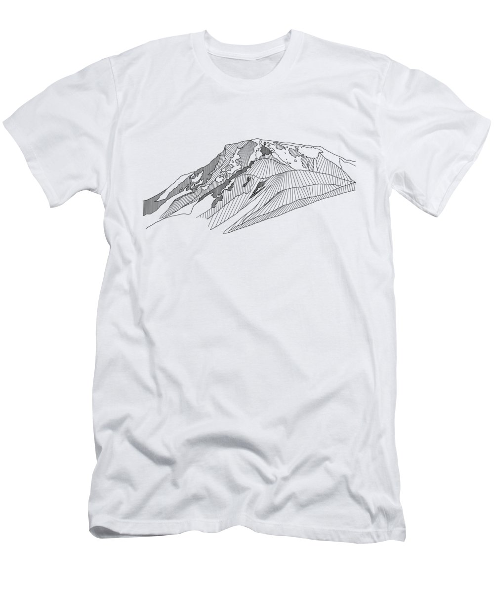 Men's T-Shirt (Athletic Fit) featuring the drawing Flattop Mountain by Melissa Burke