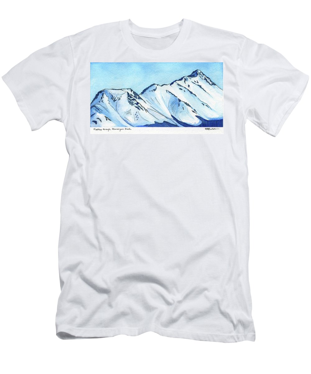 Watercolor Men's T-Shirt (Athletic Fit) featuring the painting Flattop Through Ptarmigan Peak, Alaska by Melissa Burke