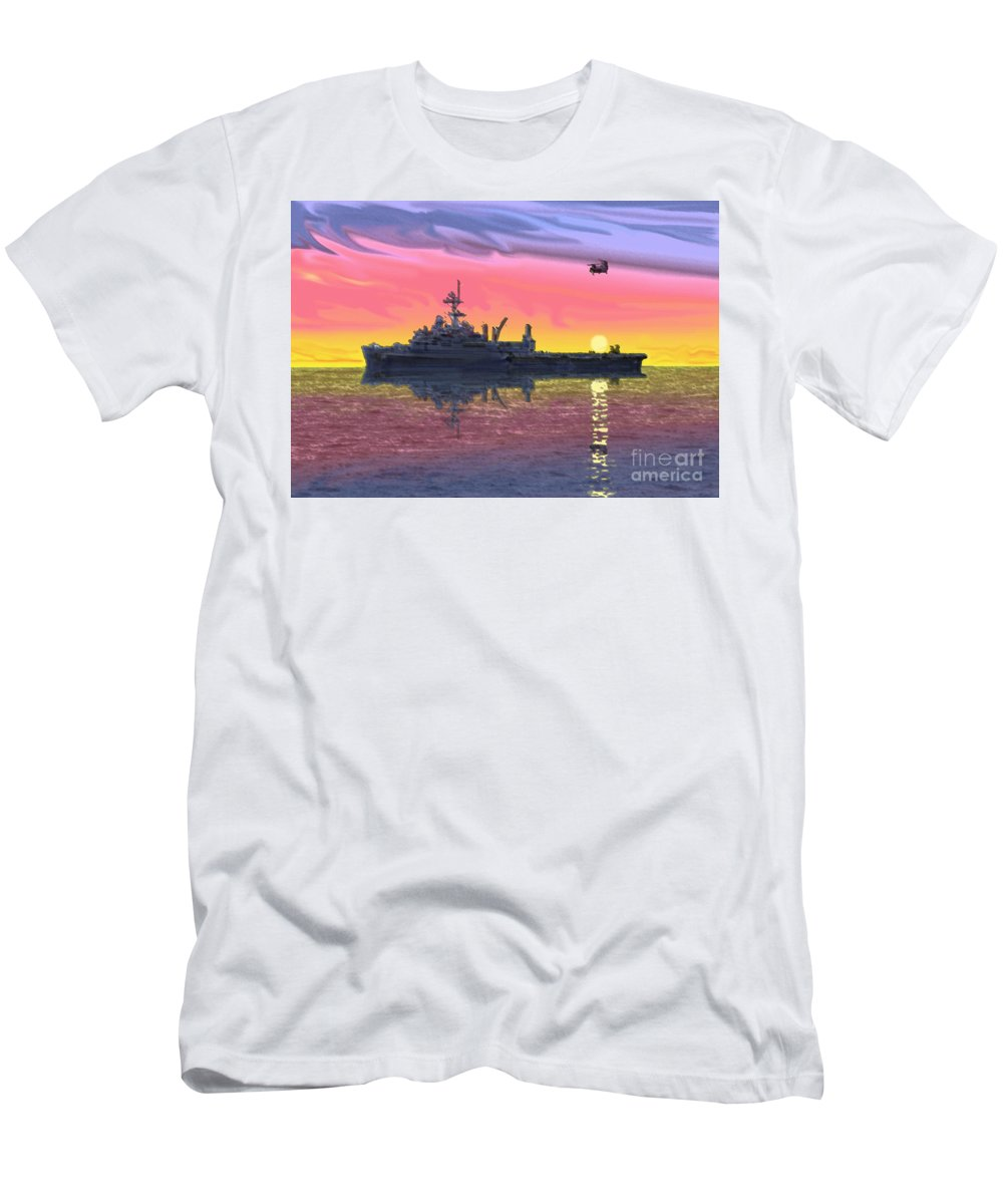 Uss Juneau Men's T-Shirt (Athletic Fit) featuring the photograph Flight Ops At Sunset by Donald Maier