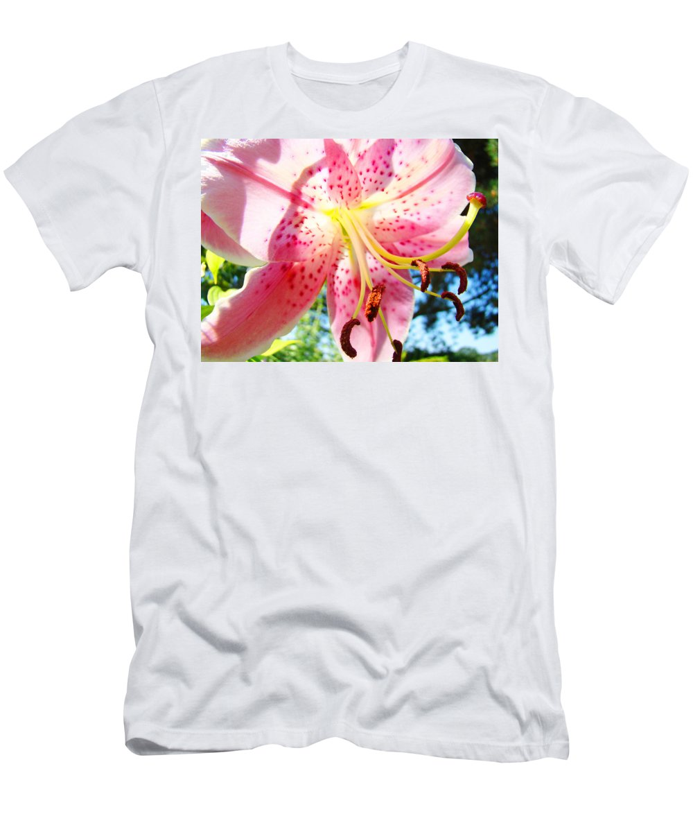 Lilies Men's T-Shirt (Athletic Fit) featuring the photograph Floral Art Print Pink Summer Lily Flower Lilies Baslee Troutman by Baslee Troutman