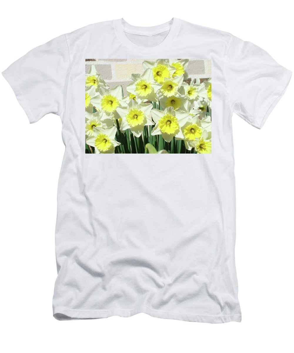 Nature Men's T-Shirt (Athletic Fit) featuring the photograph Floral Daffodils Garden Art Prints Floral Bouquet Baslee Troutman by Baslee Troutman