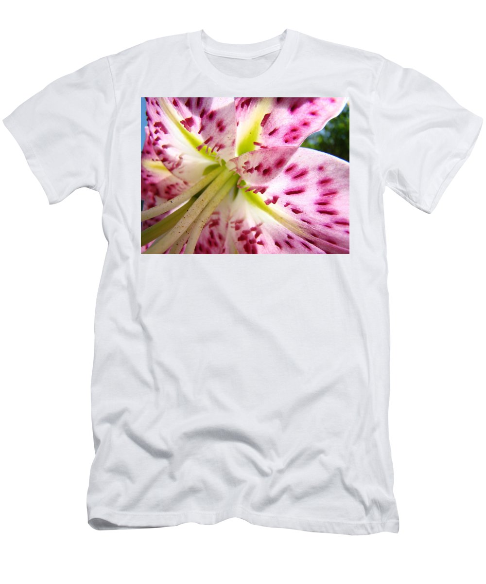 Lilies Men's T-Shirt (Athletic Fit) featuring the photograph Floral Lily Flower Artwork Pink Calla Lilies Baslee Troutman by Baslee Troutman