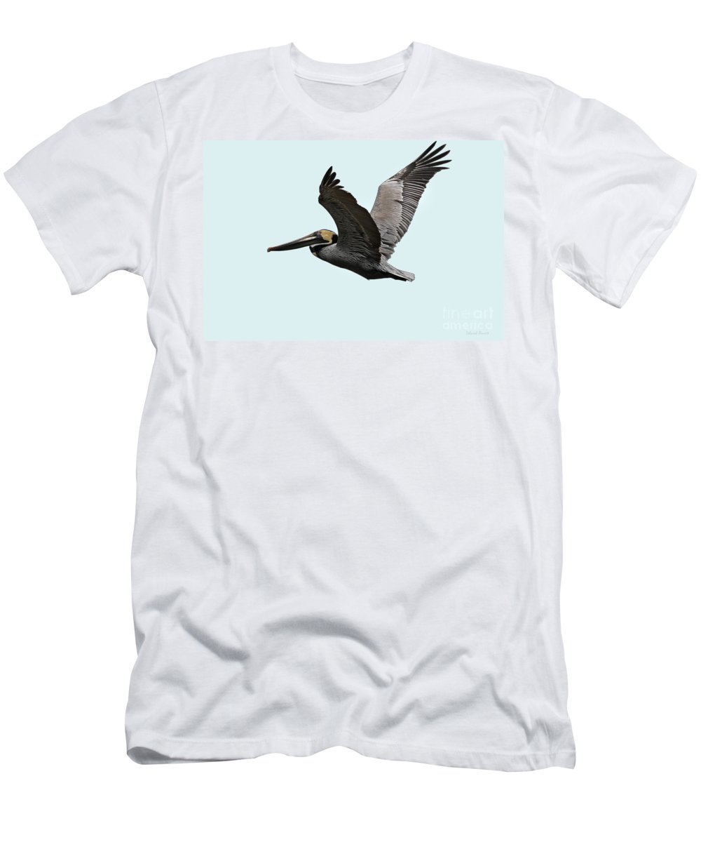 Bird Men's T-Shirt (Athletic Fit) featuring the photograph Florida Pelican In Flight by Deborah Benoit