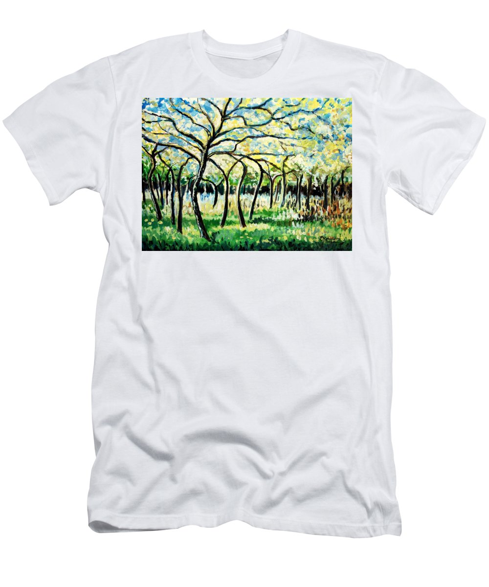 Tree Men's T-Shirt (Athletic Fit) featuring the painting Flourish by Elizabeth Robinette Tyndall